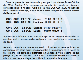 Comunicado Estelar - Cambio horario ccs-cur-ccs