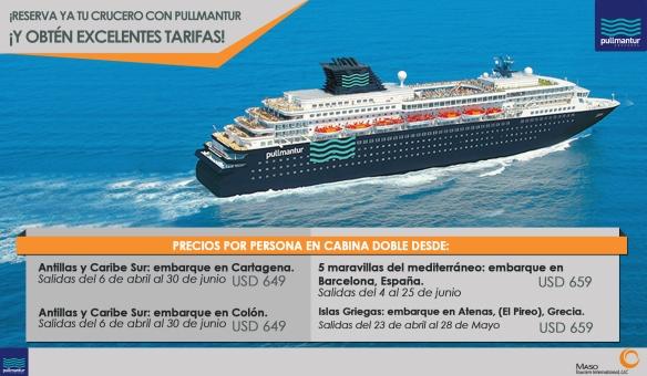 ¡Reserva ya tu crucero con Pullmantur y obtén excelentes tarifas!