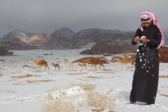 A Saudi man plays with snow after a heavy snowstorm in the desert, near Tabuk