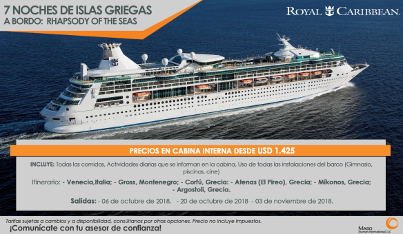 7 Noches de Islas Griegas - A bordo Rhapsody of the Seas